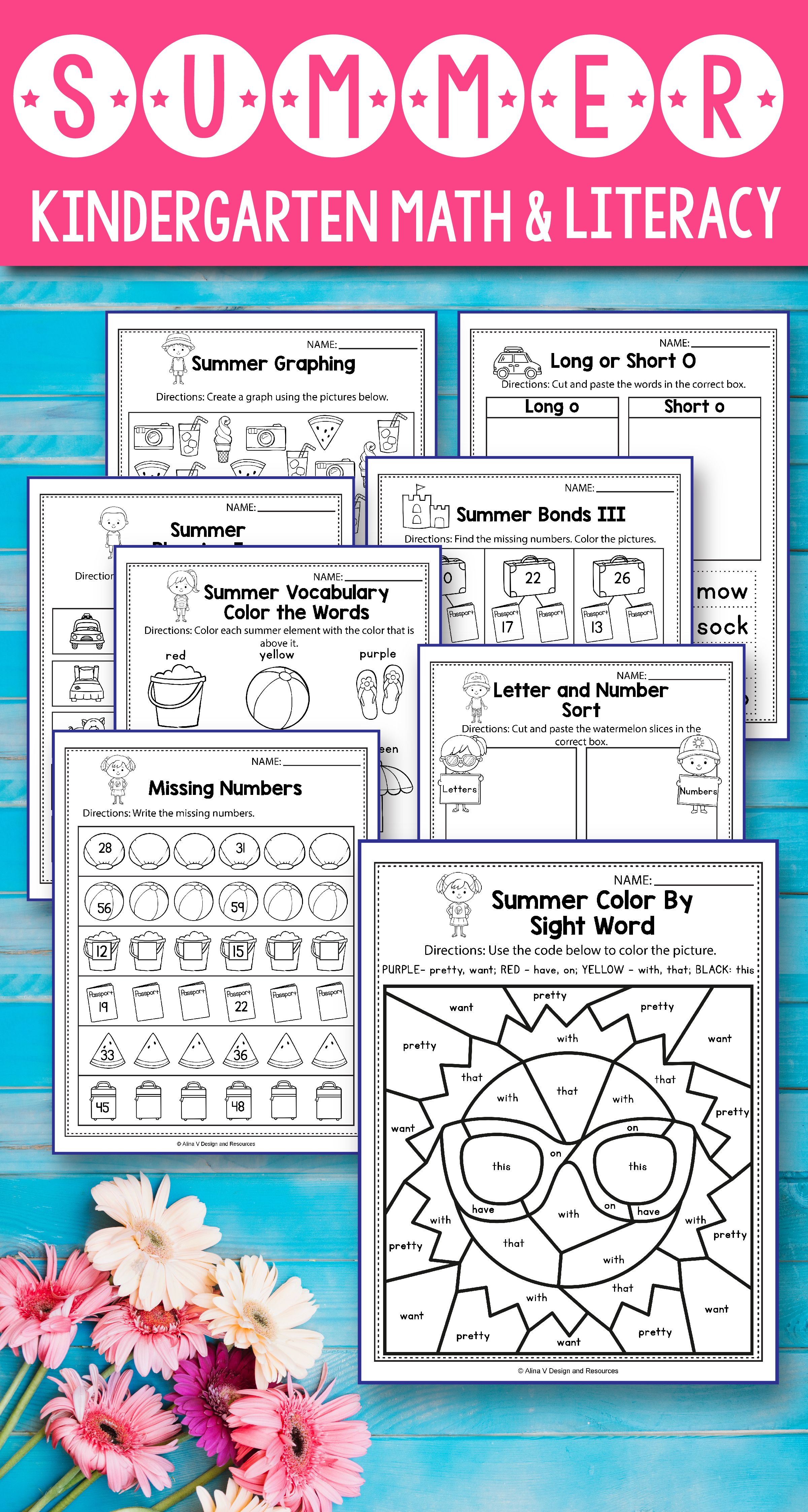 Summer Review Math And Literacy Activities For Preschool