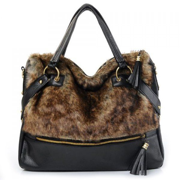 Fashionable Tassels and Faux Fur Design Tote Bag For Women  68b6f86020c0e