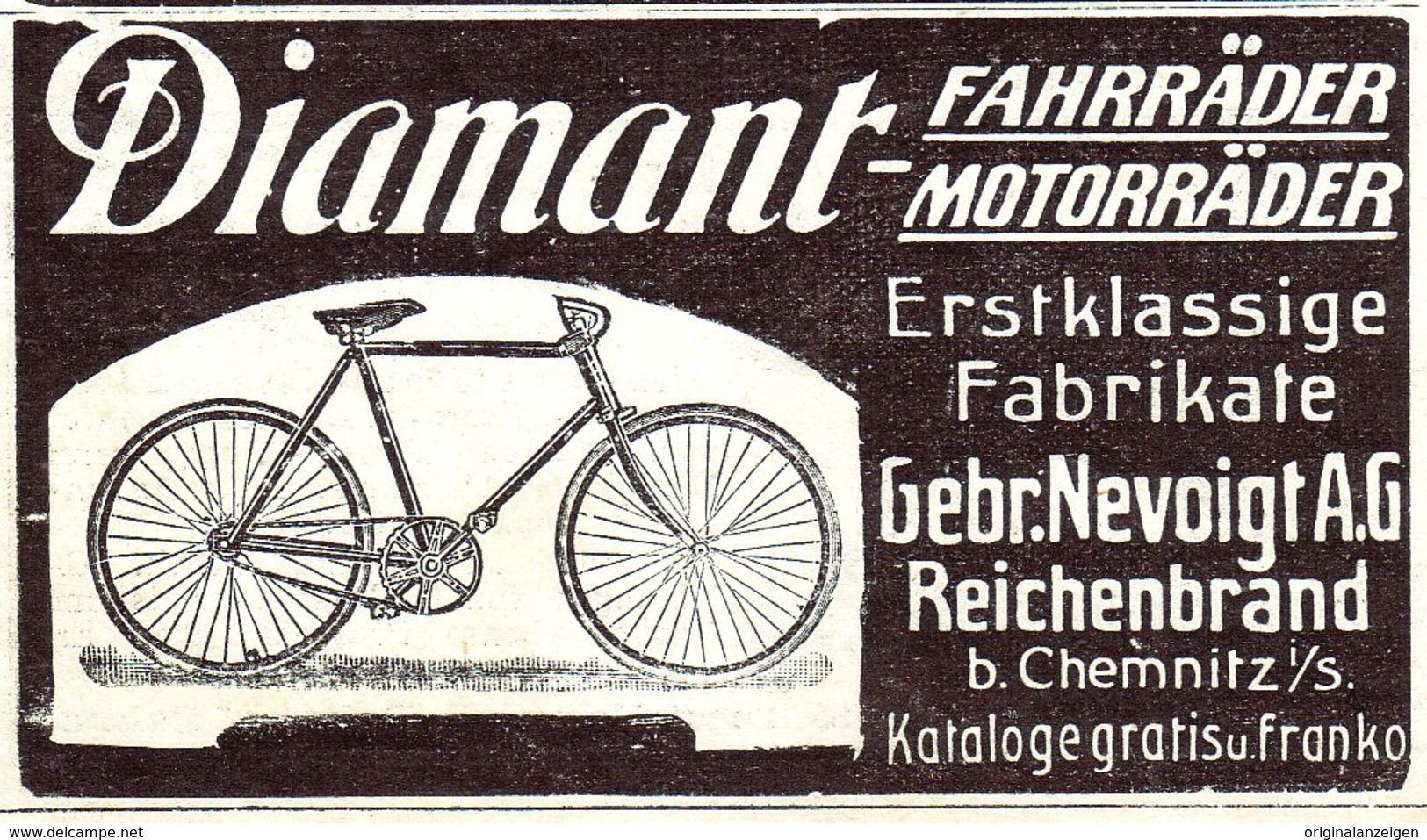 Original Werbung Anzeige 1907 Diamant Fahrrader Motorrader