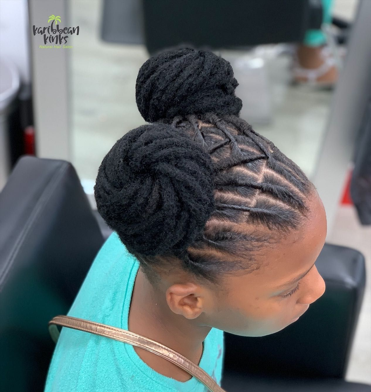 2 Buns Karibbean Kinks Natural Hair Products Available For Purchase At The Salon Or Online At In 2020 Natural Hair Salons Natural Hair Styles Loc Styles For Men