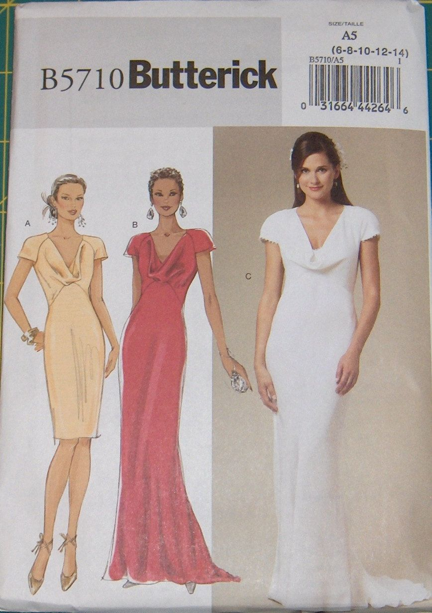 Butterick b5710 sewing patternwomens dress formal wedding womens dress formal wedding dress bridesmaids dress size 6 8 10 12 14 uncut ombrellifo Images