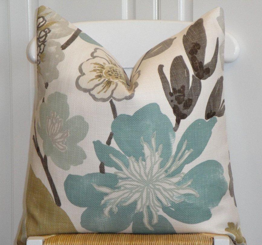 Throw Pillows Green And Brown : Decorative Pillow Cover - 22 x 22 - Throw Pillow - Accent Pillow - Teal - Aqua Green - Brown ...
