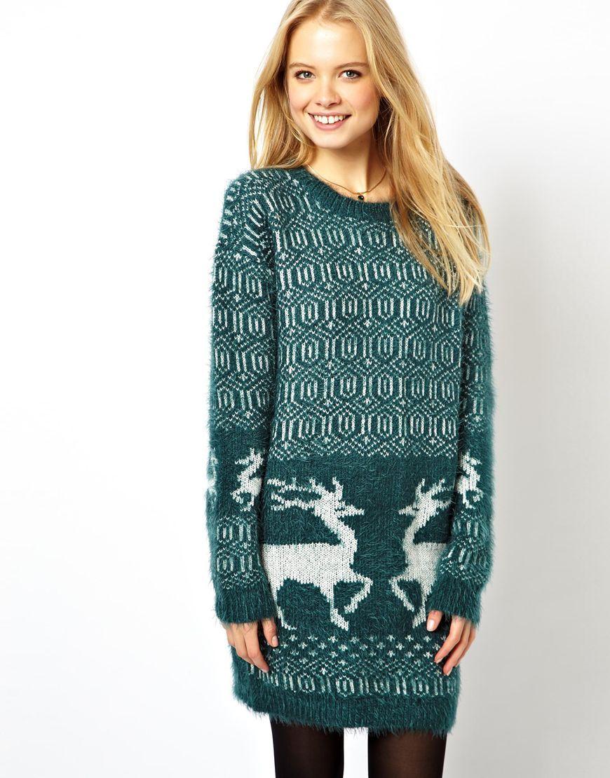 ASOS Christmas Longline Jumper With Reindeers Kids