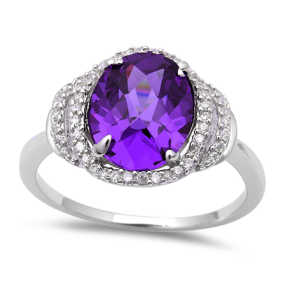 Details about 7ct oval faceted amethyst cz 925 sterling