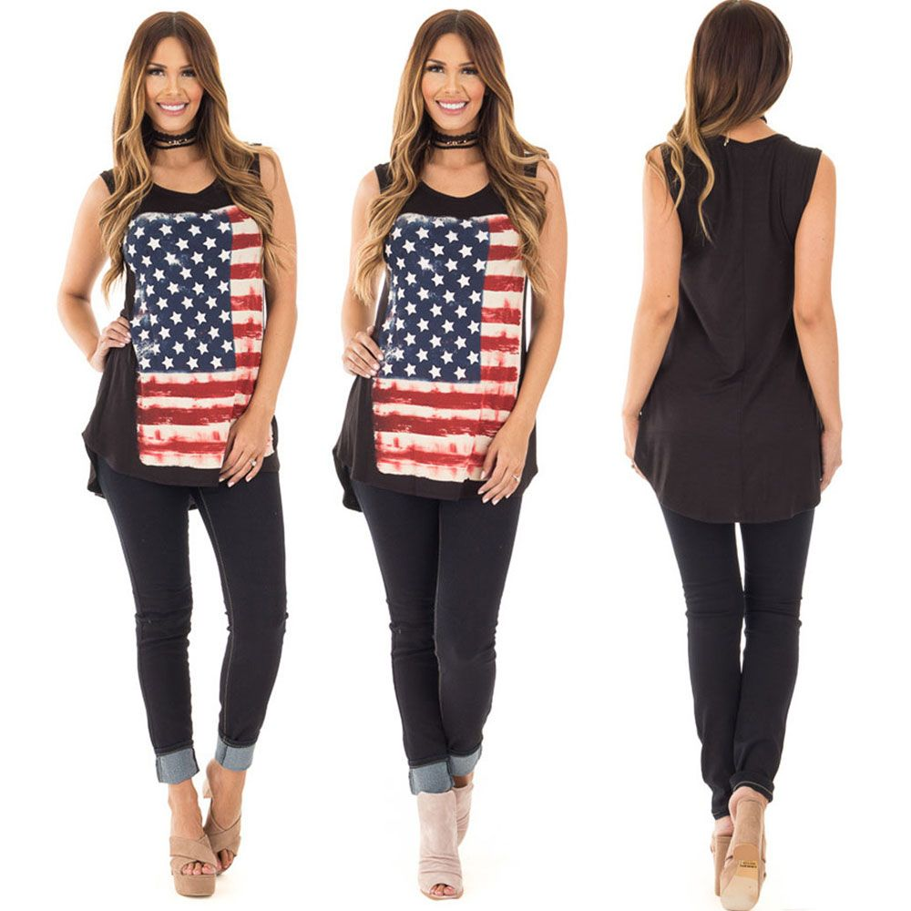 American Flag National Days T Shirt Women Summer Stripe Top