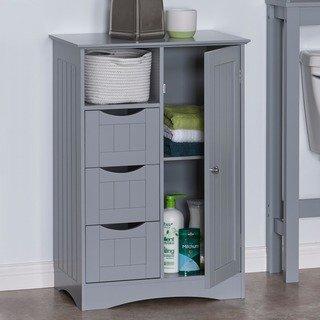 Riverridge Ashland Collection Painted 1 Door 3 Drawer Floor Cabinet Grey Gray Riverridge Home Mdf Bathroom Standing Cabinet Storage Bathroom Cabinets