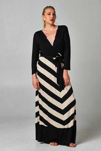 ec21bbf5e8e Plus Size Tan Black Chevron Striped Maxi Dress