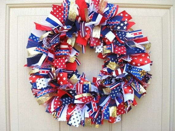 Patriotic Wreath Ribbon Wreath Fabric Wreath Red White And Blue Wreath Stars And Stripes Rag Wrea Patriotic Decorations Patriotic Wreath 4th Of July Wreath