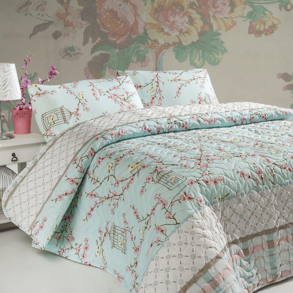 Sada prošívaného přehozu přes postel a dvou polštářů Birdcage Turquoise edaf352571