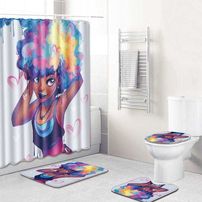African Girl Waterproof Toilet Cover Rug Mat Set Flannel Bathroom Shower Curtain