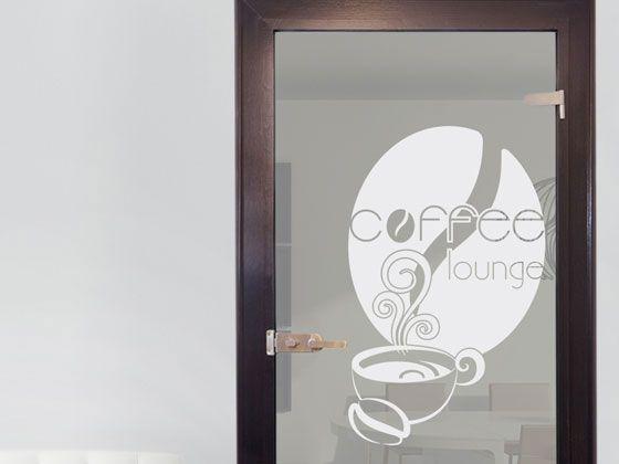 Glasdekor Glastür Aufkleber Fensterfolie Für Küche Spruch Coffee Lounge