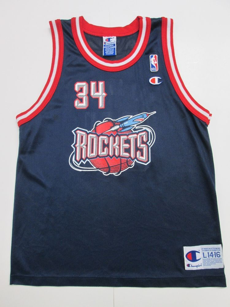 NBA VINTAGE Hakeem Olajuwon  34 Houston Rockets Jersey by Champion ... 637f79530