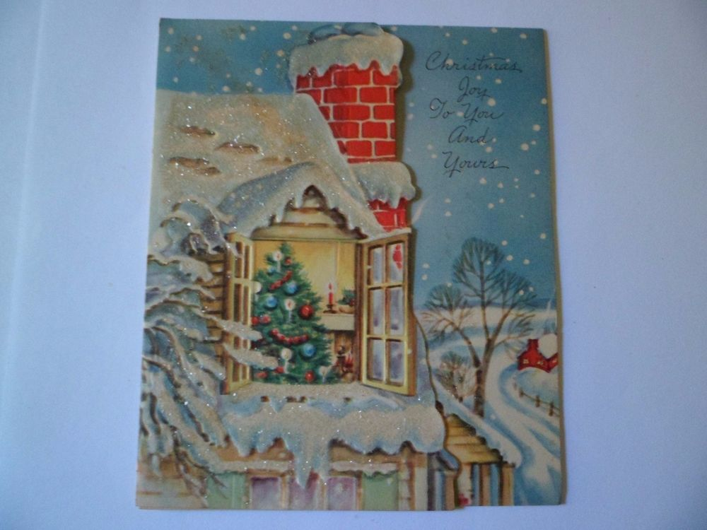 Vtg christmas greeting cardsnowy roof top tree in window embossed vtg christmas greeting cardsnowy roof top tree in window embossed famous artist m4hsunfo