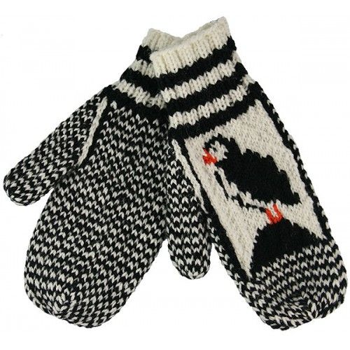 Knitted Mittens With Puffin Pattern | Knitted mittens ...