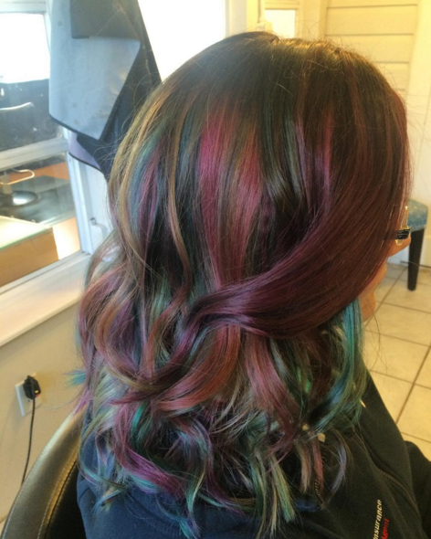 Oil Slick Rainbow Balayage Hair Oil Slick Hair Hair