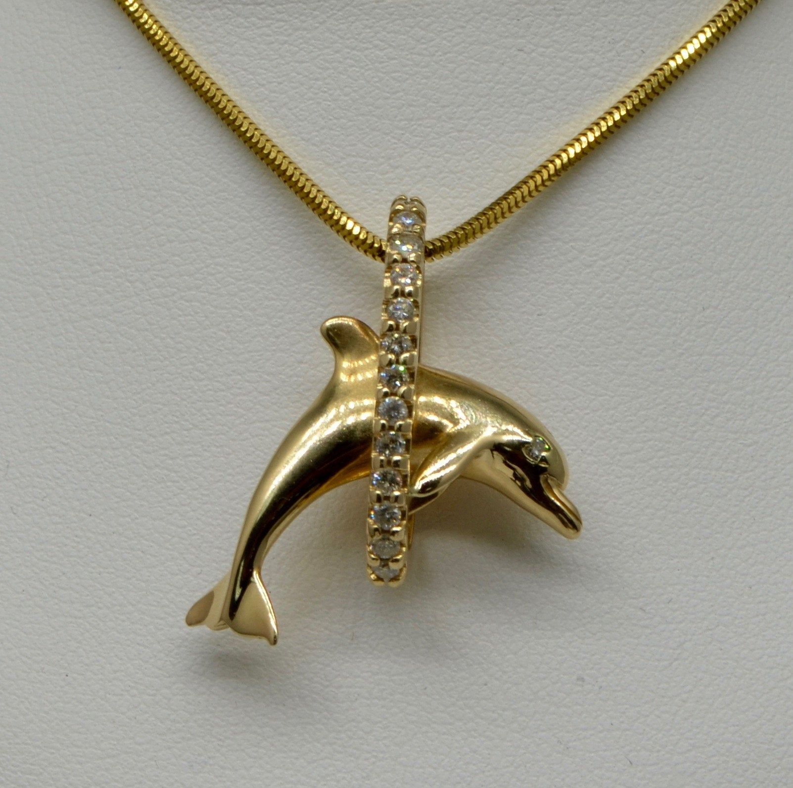 14kt /& Sterling Silver Jumping Dolphin Pendant