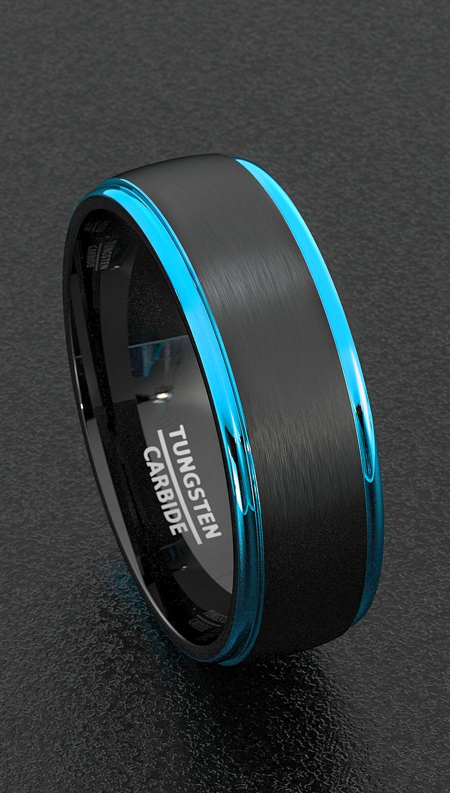 Tungsten Ring Mens Wedding Band Width 8mm Black Brushed Surface Blue  Polished Beveled Edgesfort Fit