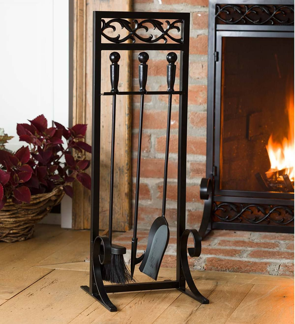 Cast Iron Scrollwork Tool Set Fireplace Tool Set Fireplace Tools Fireplace Accessories