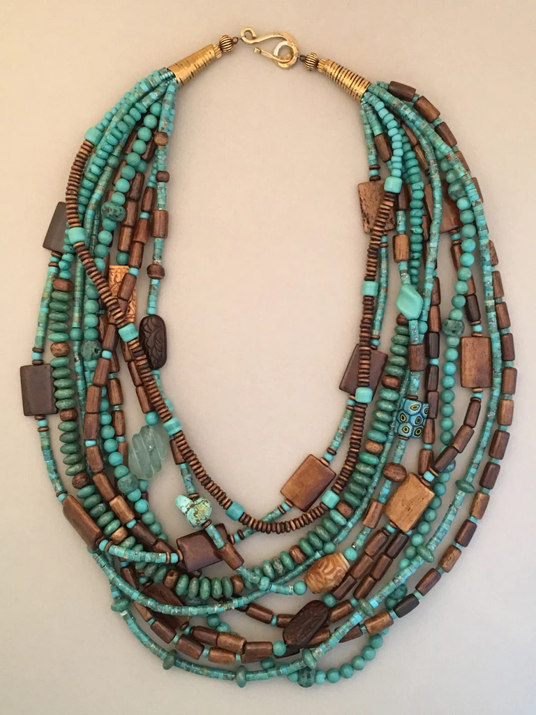 Photo of Multi-Strand Long Turquoise Statement Necklace