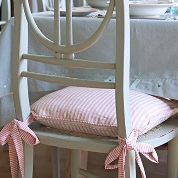 Ivory Red Stripe Chair Cushion