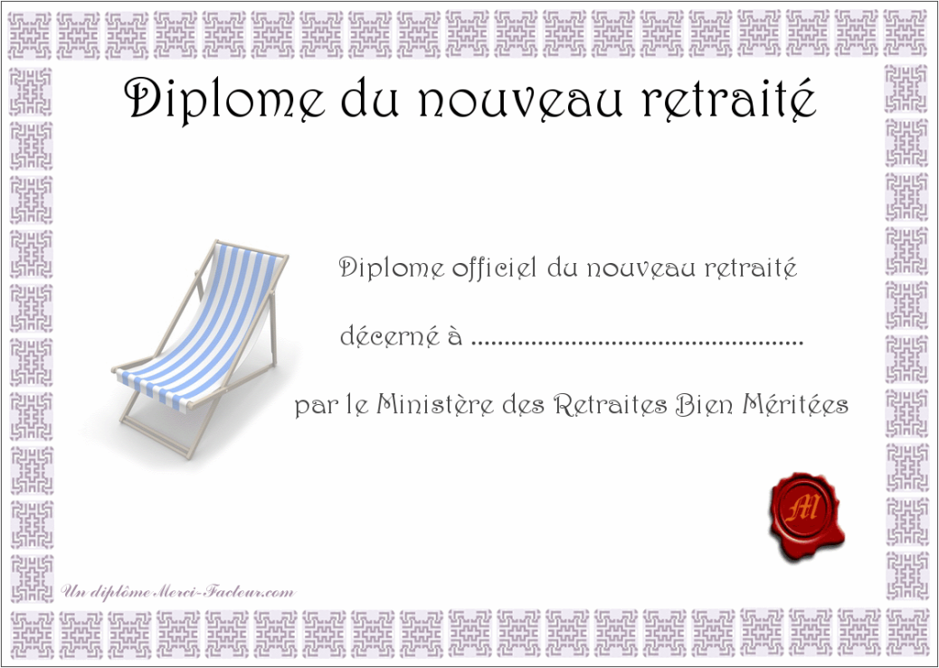 diplome gratuit depart a la retraite a imprimer 1038 739 retraite. Black Bedroom Furniture Sets. Home Design Ideas