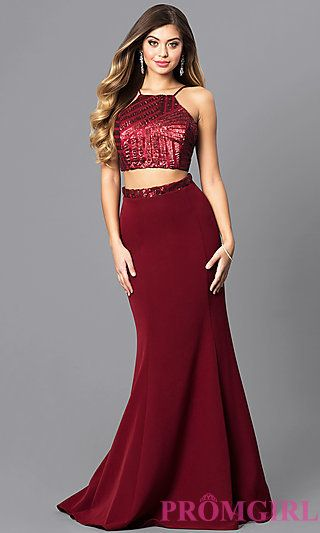 Burgundy Red Two-Piece Corset Prom Dress - PromGirl   Looks   Pinterest