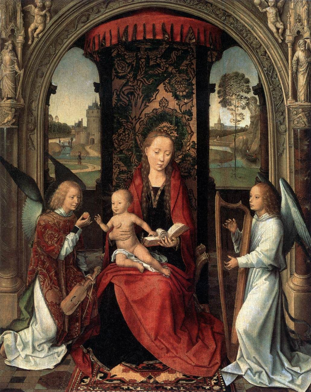 an analysis of virgin and child Known also as the madonna of the book, this painting represents the virgin and  child in a domestic setting, intent on reading a volume, perhaps a book of h.