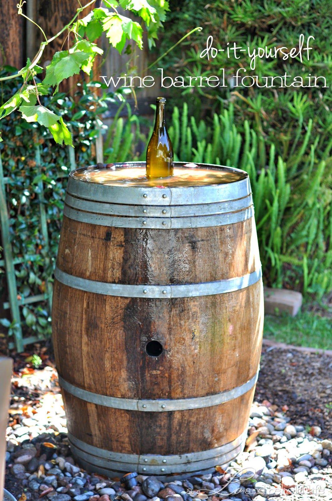 Wine Barrel Water Fountain Barrel Fountain Diy Fountain Diy Water Feature