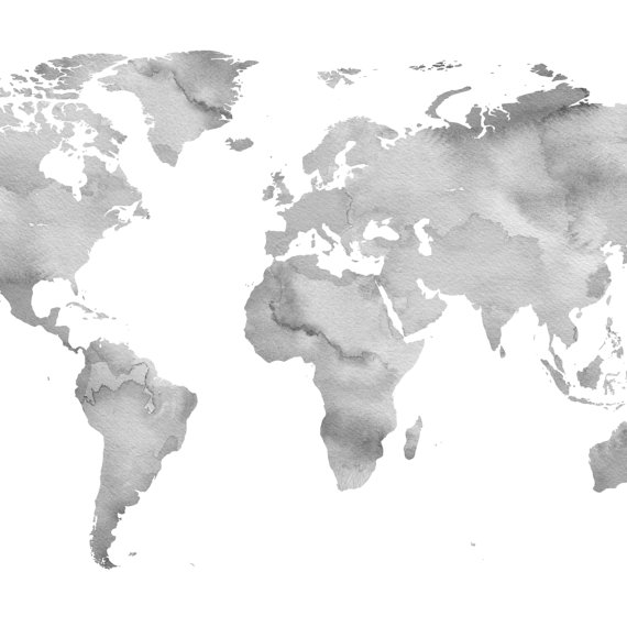 Gray Wall Art Watercolor World Map Neutral Color Printable Etsy Water Color World Map Grey Wall Art World Map Wall Art