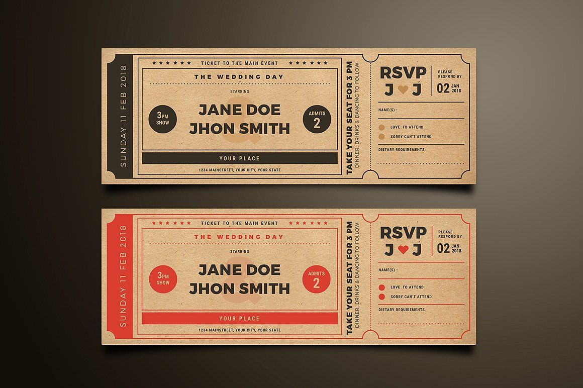 Wedding Invitation Movie Ticket | Pinterest | Movie tickets, Ticket ...