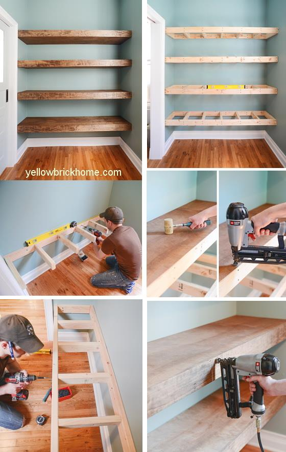 Floating Wood Shelves Ideas & How to Build