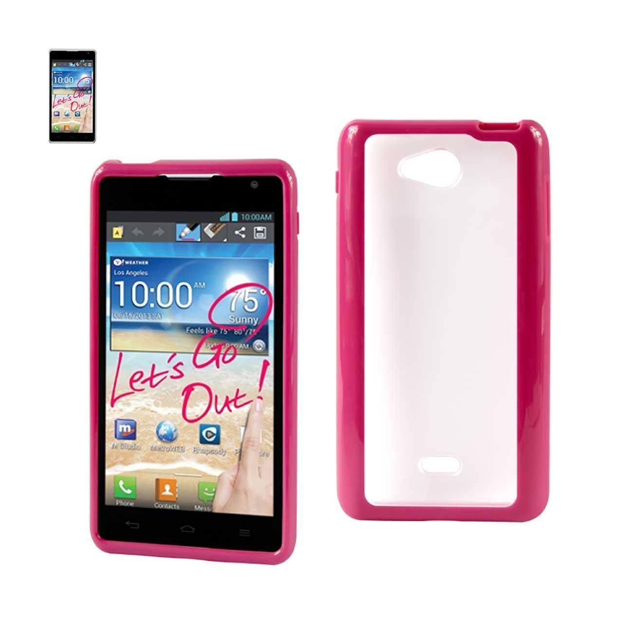 Reiko Lg Spirit 4g Frame Bumper Clear Back Case In Hot Pink Hot