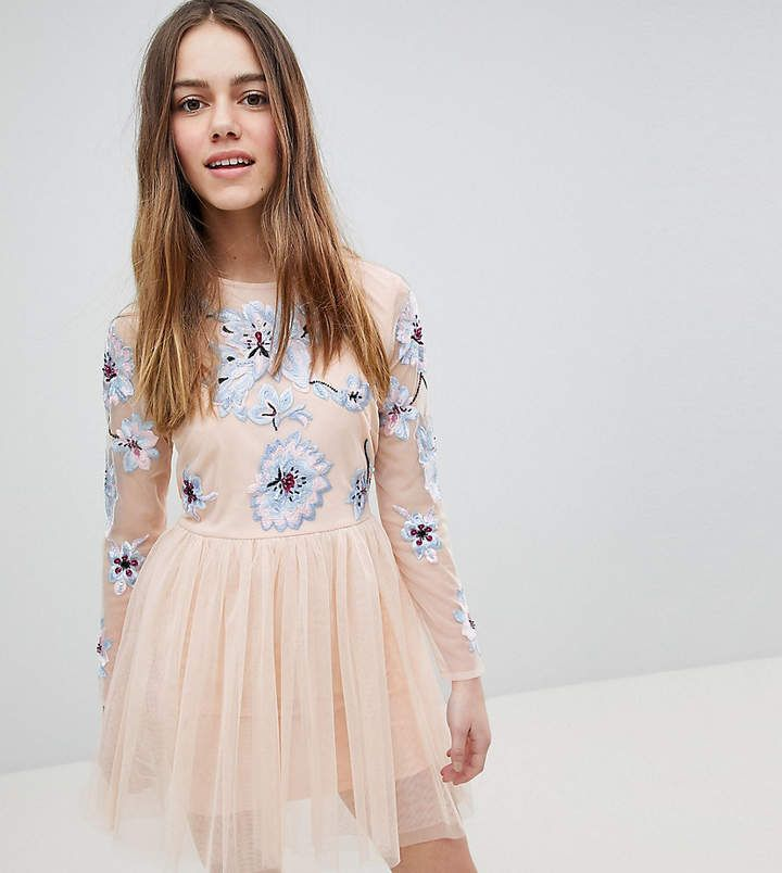 ASOS DESIGN Maternity pastel embroidered tulle mini dress - Blush Asos Maternity Supply Outlet 2018 New QpASkEV