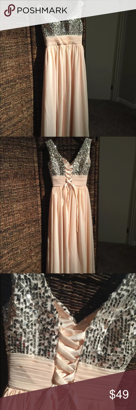Long chiffon light pink sequin evening prom dress pink sequin