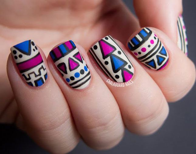 Tribal Nail Art: Ace These 18 Aztec-Inspired Manis via Brit + Co. - Tribal Nail Art: Ace These 18 Aztec-Inspired Manis Via Brit + Co