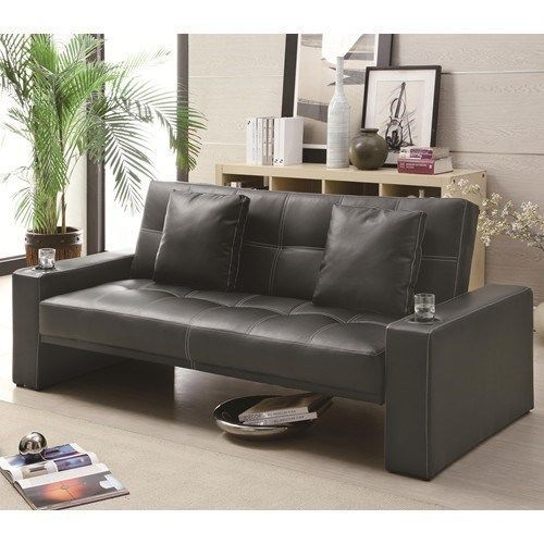 Contemporary Comfy Durable Leather Like Futon Styled Sofa Sleeper In Black New Coaster Leather Sofa Bed Cheap Sofas Sofa Furniture