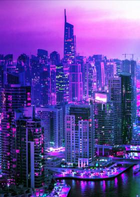 City Night Neon Poster Prints By Josemacias Aguilar Displate Dark Purple Aesthetic Purple Wall Art Purple Aesthetic