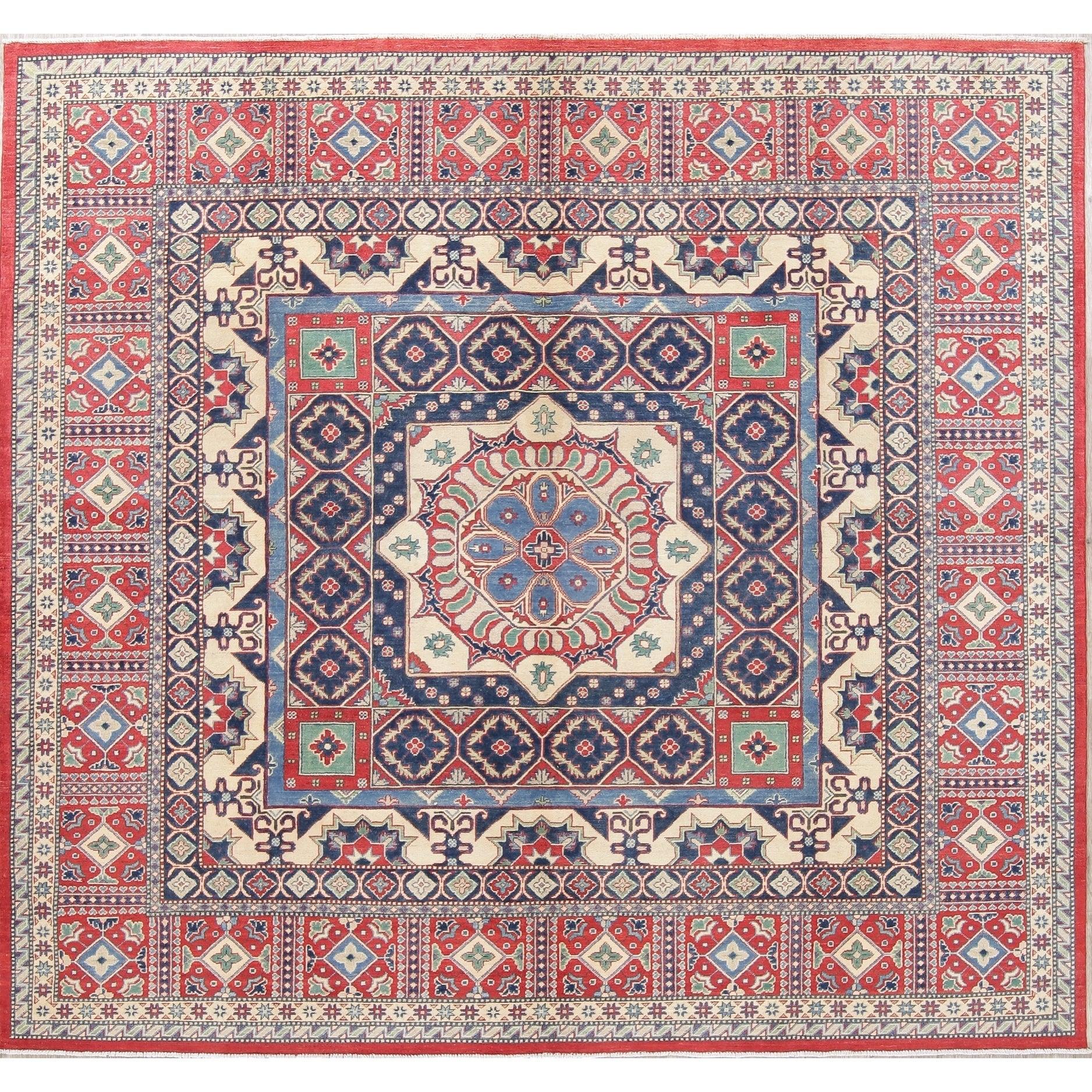 Oriental Kazak Hand Knotted Wool Traditional Pakistani Square Area