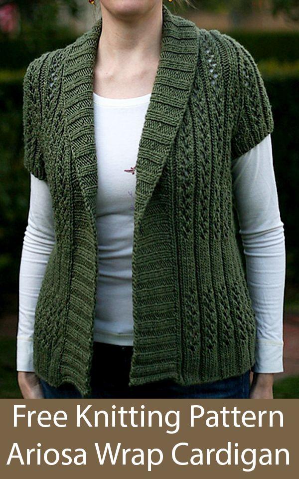 Free Knitting Pattern for Ariosa Short Sleeved Shawl Collar Cardigan in Bulky Weight Yarn