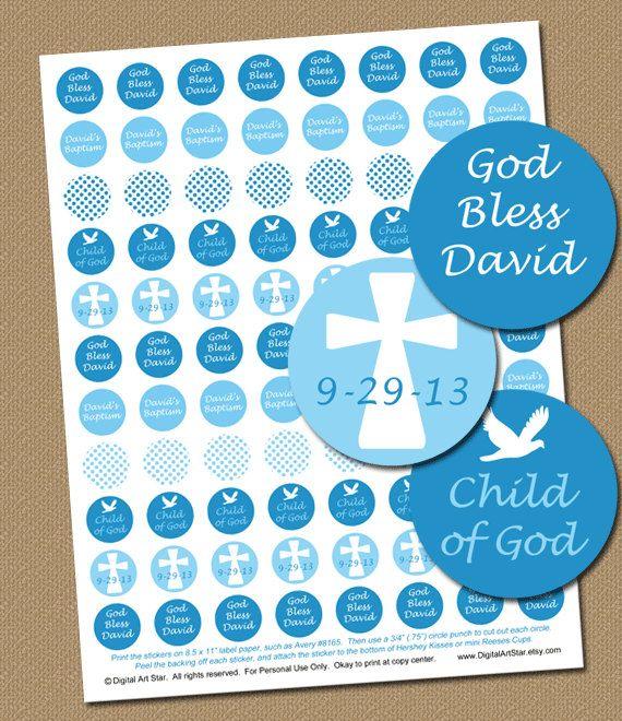 Baptism Hershey Kiss Stickers Personalized Diy By Digitalartstar 10 00 Christening Party Boy Baptism Baby Baptism