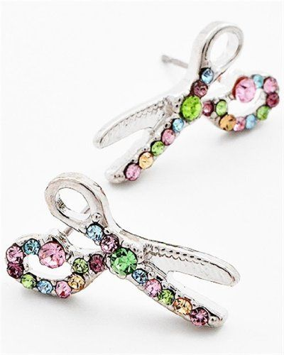 Scissors Earrings Multi Color Crystal Z2 Recyclebabe ...