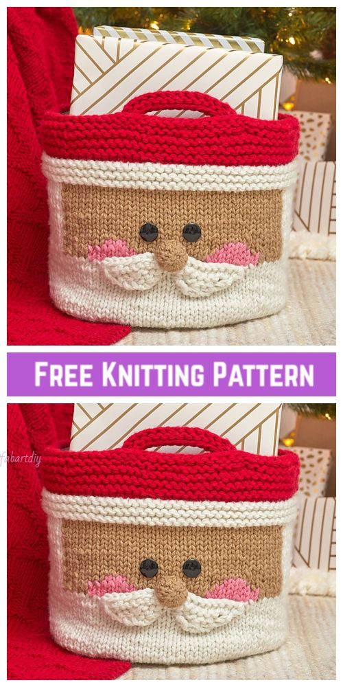 Knit Jolly Santa Basket Free Knitting Pattern   Christmas ...