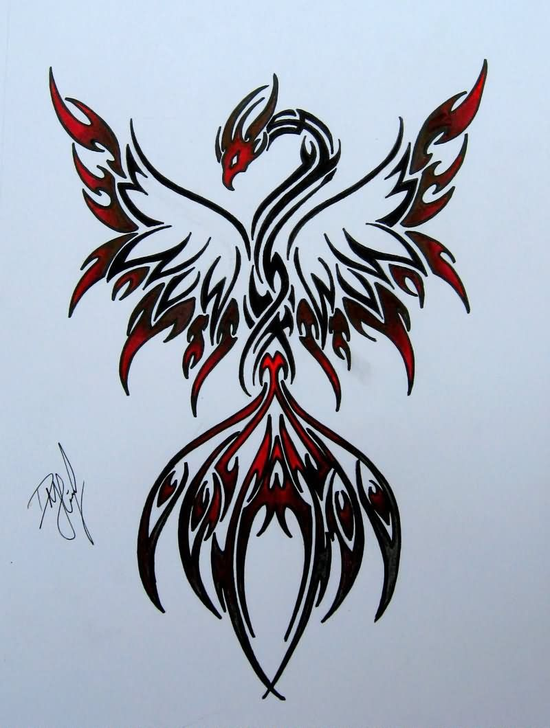Colorful phoenix tattoo designs - Black And Red Tribal Phoenix Tattoo Design