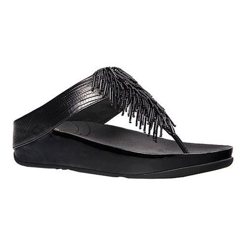 af499ce18f6a Women s FitFlop Cha Cha Thong Sandal - Black Embossed Leather Sandals