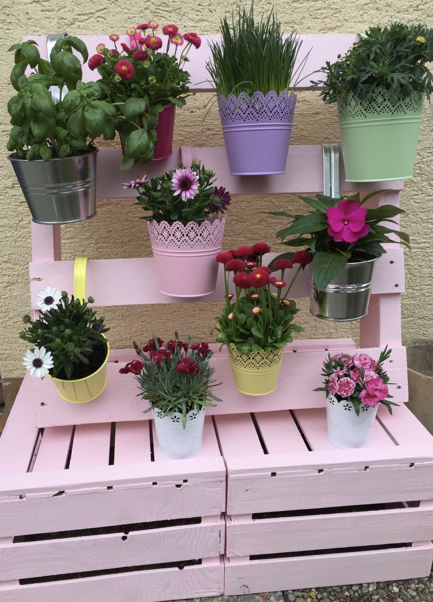 diy flowers blumen selfmade paletten palette europalette bunt fr hling sommer. Black Bedroom Furniture Sets. Home Design Ideas
