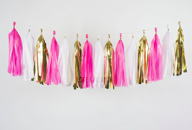 Flamingo Party Tassel Garland, Flamingo Birthday Bash, White Gold Fuchsia Pink Tassel Garland, Hot Pink Gold Garland, Baby Girl Cake Smash by LoveGarlands on Etsy https://www.etsy.com/listing/257643100/flamingo-party-tassel-garland-flamingo