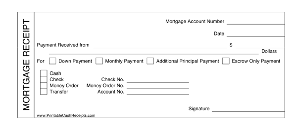 Record Mortgage Down Payments Monthly Payments And Principal Payments With This Printable Receipt For Homeowners Free T Mortgage Online Jobs Receipt Template