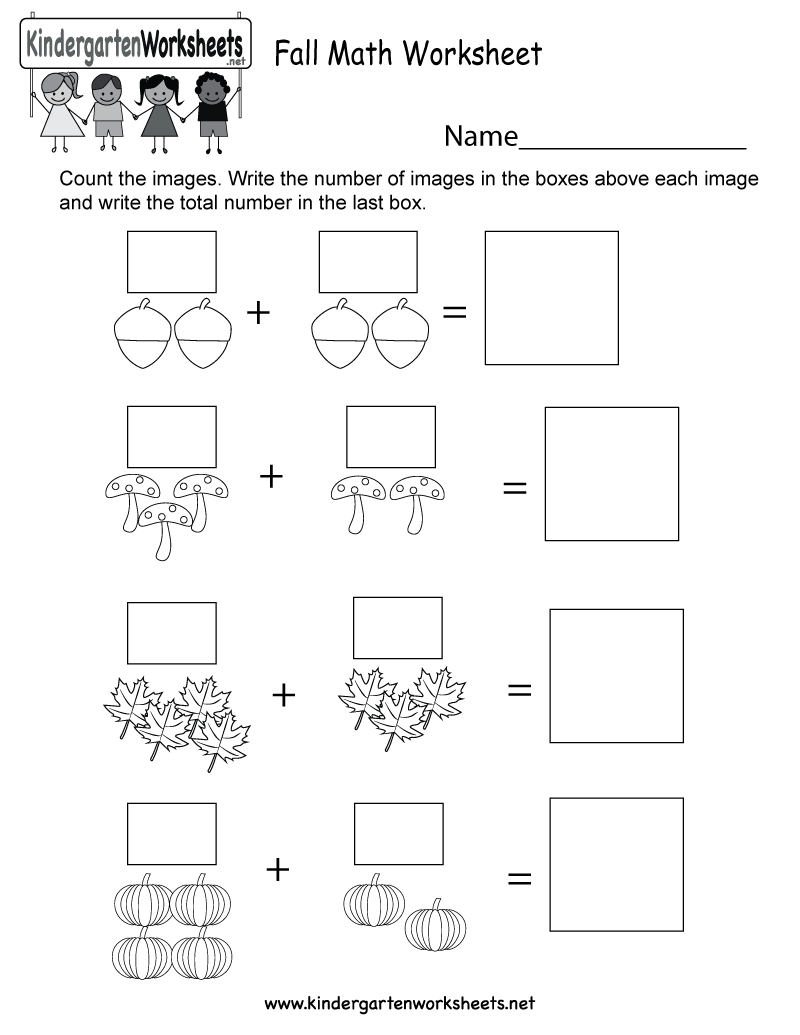This is a fall math worksheet. Kids can count, write numbers, and ...