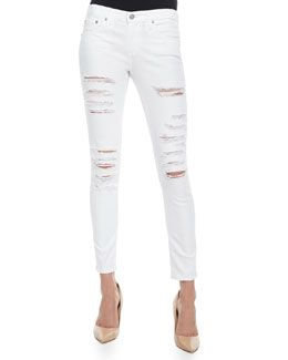T9VD6 AG Distressed Skinny Ankle Jeans, One Year White