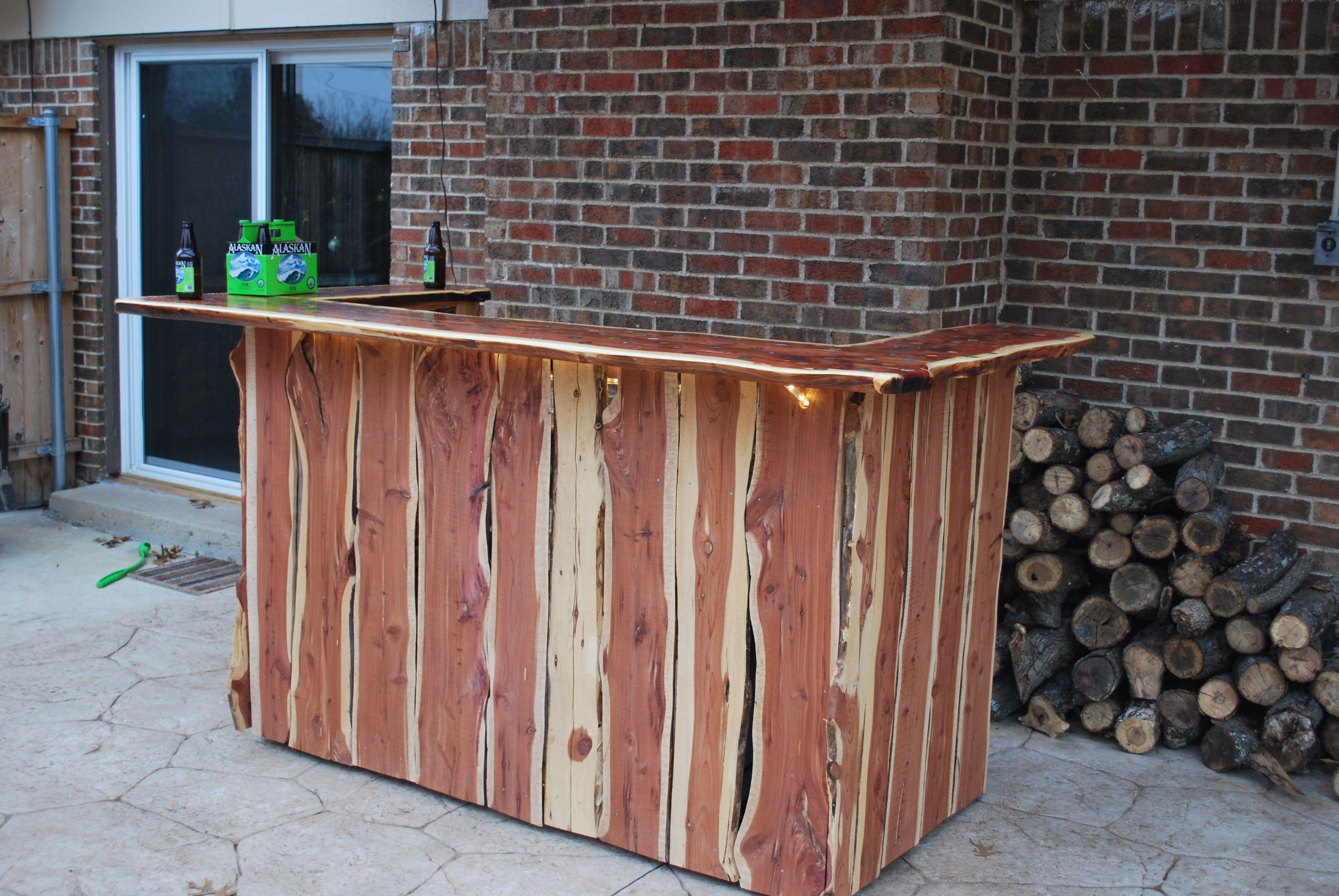 Rustic Cedar Outdoor Door With Ice Sink Mini Fridge Wine